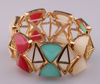 Bohemian acryl plate - New Arrival candy color fruit jelly acryl resin facet and gold geometric decoration Beads women Stretch Bracelet