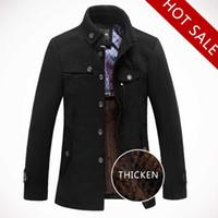 brand winter jacket for men - 2014 New Brand Winter Men s Wool Jacket Casual Coat For Men Mens Thicken Jackets Men Overcoat Black Gray Plus Size M XXXL