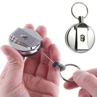 Wholesale 1 x Useful Retractable Metal Card Badge Holder Steel Recoil Ring Belt Clip Key Chain