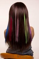 Wholesale Hair piece Rainbow Straight clip in extension one clip exemption from postage cm