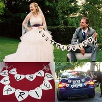 Wholesale Letter heart just married wedding decorations flag flags garland decorated handmade wedding signboards string flag wedding photography suppo