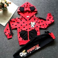 Wholesale baby girls clothing sets cartoon minnie mouse winter children s wear cotton casual tracksuits kids clothes sports suit hot