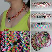 Chokers titanium necklaces - New Baseball Sports Titanium Rope Braided Tornado Sport GT Necklace colors