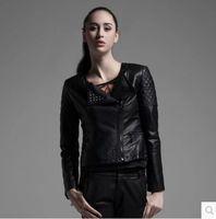 women black short leather jacket - Women s New Autumn winter rivet wash PU leather coat motorcycle jacket