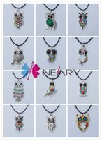 animal jewelry - Vintage Owl Necklace Mixed Rhinestone Owl Pendant Necklaces Leather Chain Cute Animal Jewelry Personalized Jewelry