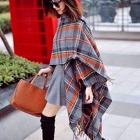 retail shawls - Pashmina Cachecol Silk Scarf Women Blanket Scarves New Autumn And Winter Design Blended Wool Plaid Retail Best Poncho Long Shawl Wraps