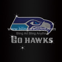 Wholesale Seahawks Rhinestone Go Hawks Iron On Transfers For Clothes Decoration Custom Service Free Cost