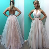 best party dresses factory - Best Selling A line Pink Tulle Girls Party Dresses Halter Beaded Crystal Sash Ladies Dresses Factory Direct Cheap Evening Prom Gowns AD68
