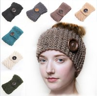 Wholesale New Women s Fashion Wool Buttons Crochet Headband Knit Hair band Flower Winter Ear Warmer headbands for women