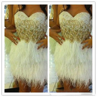 beautiful maternity wear - White Feather Cocktail Dresses with Shinny Beads Sweetheart A Line Short Mini Party Dress Beautiful Short Prom Homecoming Gowns