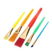 Wholesale Flat Nylon Hair Paint Brush Set Paintbrushes Plastic Handle Artists Gouache Watercolor Acrylic Brushes Art Supplies set