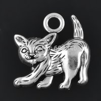 cat charms - 50 piece a Antique Silver Plated Lovely Kitten Cat Charms Diy For Bracelets And Necklaces Making