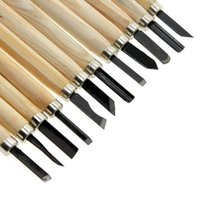 Cheap Hot Sale 12Pcs Set Wood Carving Tools Kit Mini Chisel Asstorted Steel Blades Wood Handle Woodcarving Tool