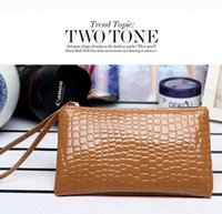 Wholesale Cluth Purse Wholesale - Wallet Women's Fashion Alligator handbag Concise Wallet Purse Cluth cute Card Holders Mobile Phone Bags for iPhone 6S Plus Samsung HTC