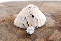 Wholesale Fashion pair Natural Crystal Crown Sterling Silver Pendants For Jewelry Necklace Latest Design Friend Gift