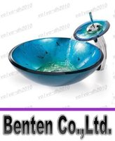 Wholesale high quality bathroom toughened glass container vanity print color sink bowl of water LLFA4267F