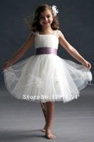 Cheap Knee length tulle romantic flower girl dress made in China cheap girl pageant dress festival birthday party dresses