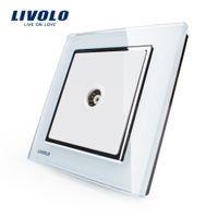 Wholesale Faddish White crystal glass panel VL W291V modern TV wall socket Livolo New Style Wall Socket