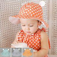 Wholesale kids fashion hats Korean version of the summer new dot cute cartoon baby sun cloth caps girls sweet princess sun hat dandys