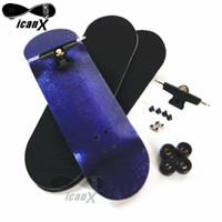 alloy tech wheels - ICANX MM MM Wooden Decks Finger Boarding Skateboard Bearing Wheels Mini Fingerboard Alloy Trucks Tech With Tool FBS020