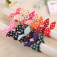 Cotton assorted hair sticks - Hair Elastic ties women girls Rabbit Bunny Ears shape Polka Dot Colors assorted rubber Hair Bands hairbands no crease ouchless elastics