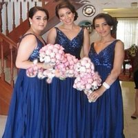 Wholesale 2016 Royal Blue Bridesmaids Dresses Bling Sequins V Neck Formal Chiffon Bridesmaid Long Dresses Evening Sexy Backless Bridesmaid Gowns Cheap