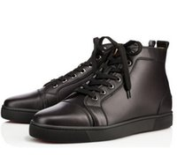 red bottom shoes - Size39 luxury brand Lou Red Bottom Sneakers leather High top Fashion Casual Shoes For Mens Flat With Sneaker Shoes