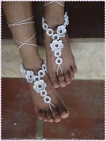 Wholesale New summer hot sale white bridal foot jewelry sandals barefoot beach party crochet anklet