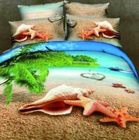 Cheap landscape 3d oil print bedding set luxury cotton ocean Queen size duvet quilt comforter cover bed sheets Linen sets