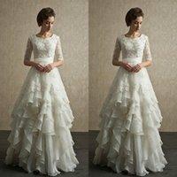 Wholesale Vintage Ivory Lace Wedding Dresses Gowns Half Sleeves Beaded Floor Length Applique Chiffon Bride Bridal Gowns