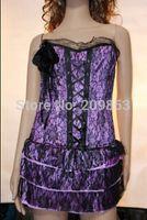 Wholesale w1025 Sexy corset purple flower lace corset dress stock reatil bustier corset