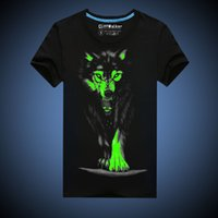 Wholesale Luminous Mens Shirts - Novelty Mens 3D Glow in the Dark Luminous T shirt Men Asian Sizes Black Wolf Printed Short Sleeve Men Clothes Summer MT