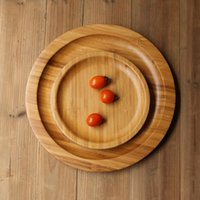 bamboo pallet - Pallet natural wood circle brief pastry bread plate household water cup tea set tableware bamboo tray