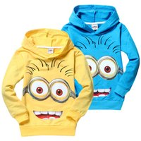 Wholesale Cotton Sweatshirt Baby Yellow - 2015 Popular Despicable Me Minions Children's Hoodies 2 Colors Yellow Blue High Quality Baby Sweatshirts Coats Spring Autumn Kids Clothing