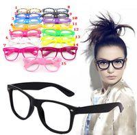 Wholesale 15 Colors Fashion Lovely Unisex Clear Lens Nerd Geek Glasses Men Women Beach Color Transparent Sunglasses Eyewear Brand Designer NHZ