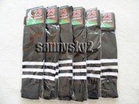 baseball high schools - Black thick cotton sports socks white Stripe men women Soccer Baseball Football School long Knee High Athletic Boot Sock Quality