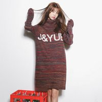army sweater shop - Model real shot quality Korean Shopping new winter fashion knit hedging long sweater dress
