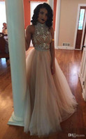 Wholesale 2016 Two Pieces Prom Dresses Champagne Sexy High Beaded Collar Crystal Bodice Long Tulle Party Dresses Formal Evening Gowns Custom Made