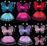 Wholesale Kid Girls Angel Wings Costume Fairy Butterfly Wing Set Wand Headband Colors Assorted Halloween butterfly Magic Wand Hair Band Skirt