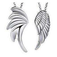 air free sterling silver - China Post Air Mail Sterling Silver Angel Wings couple Necklace Pendant Jewelry