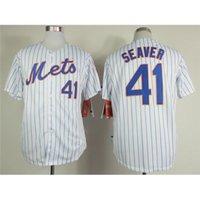 pinstripe baseball jerseys - Mets Authentic Tom Seaver Baseball Jerseys White with Blue Pinstripe Cool Base Jerseys High Quality Stitched Baseball Shirts