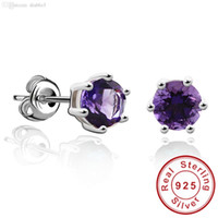 Cheap Wholesale Round 1ct Gemstone Natural Amethyst Citrine Garnet Peridot Blue Topaz Earrings Stud 925 Sterling Silver Fine Jewelry 2015 Brand