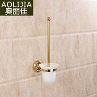 ceramic tile - European antique brushed gold plated bathroom toilet bathroom shelf bathroom retro toilet brush