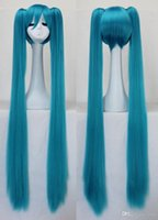Wholesale Hatsune Miku cosplay anime wig with long straight hair wig can be hot dye color temperature wire cosplay wig