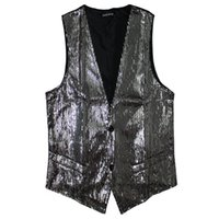 Wholesale Fall Hot Men Sequin Vest Paillette Stage Performance DJ Night Club Bar Service Show Waistcoat Sleeveless Jacket For Singers