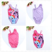 Wholesale Little Girl Bikini Swimsuit - New 2015 baby Girls Kids Children My Little Pony Swimsuit Swimwear one piece 2-6Y Swim Clothing Sunbath Beachwear Bikini Tankini