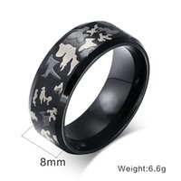 Wholesale Package mail titanium steel jewelry camouflage pattern mm big steel ring R men s domineering ring