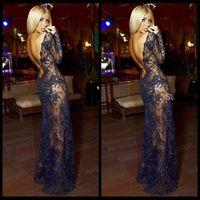 Cheap Free Shipping Vestido Longo Formal Evening Dresses 2015 Long Sleeves Zuhair Murad Evening Dress Vestido De Festa Longo Com Renda