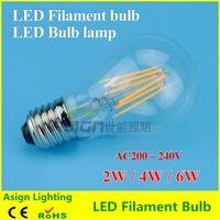 Wholesale E27 led filament bulb w w w led bulb AC200 V bulb lamp Degree lm warm white color bulbs for home indoor kitchen AC220V AC230V
