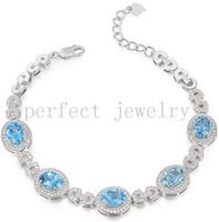 Wholesale Blue topaz chain bracelet Natural real blue topaz sterling silver Perfect Jewelry Gemstone bracelet Blue gems DH